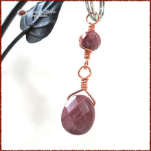 Load image into Gallery viewer, Rose Red Gemstone Keychain Accessory, Mookaite Jasper Stone, Copper