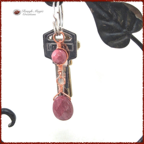 Rose Red Gemstone Keychain Accessory, Mookaite Jasper Stone, Copper