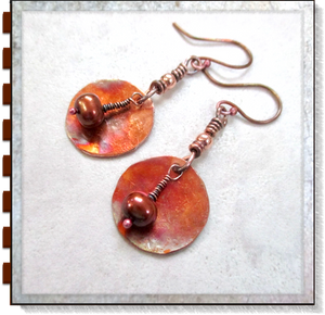 Rustic Copper Earrings with Dark Bronze Luster Pearls & Hammered Disc Dangles