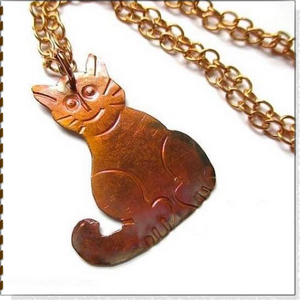 Rustic Cat Pendant, Hammered Copper Handmade Kitty for Crazy Cat Lady, Chain Necklace, Cat Lover Jewelry by Mollie Meserve Designs for Rough Magic Creations.