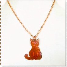 Load image into Gallery viewer, Cat Pendant, Copper Handmade Kitty, Chain Necklace, Cat Lover Jewelry