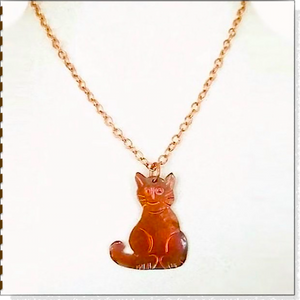 Cat Pendant, Copper Handmade Kitty, Chain Necklace, Cat Lover Jewelry