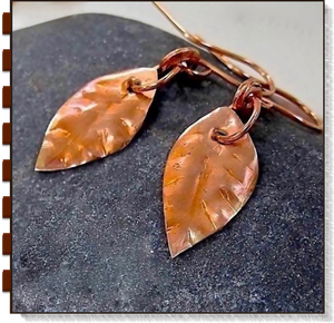 Rustic Copper Autumn Leaves Earrings
