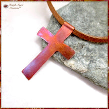 Load image into Gallery viewer, Rustic Copper Cross Pendant Suede Cord Necklace Christian Jewelry for Men and Women, Hand Forged by Rough Magic Creations.