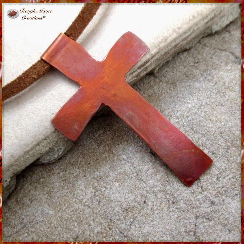 Rustic Copper Cross Pendant Suede Cord Necklace Christian Jewelry for Men and Women, Hand Forged by Rough Magic Creations.