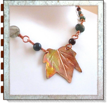 Load image into Gallery viewer, Fall fashion jewelry, handmade necklace with copper maple leaf in gemstone beaded chain by Mollie Meserve for Rough Magic Creations