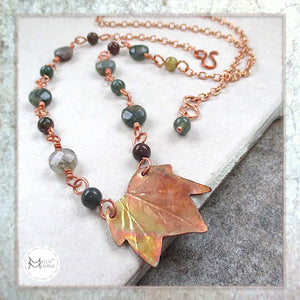 Copper and Gemstone Necklace Handmade Maple Leaf, Earthy beaded chain