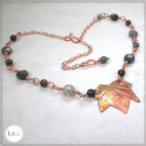 Rustic Copper Leaf Pendant on Gemstone Beaded Chain Necklace