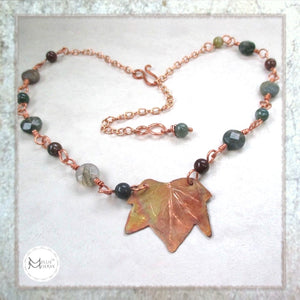 Autumn leaf copper and gemstone necklace maple leaf and agate handmade jewelry for fall