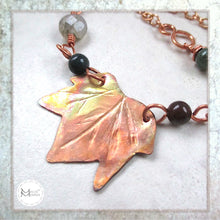 Load image into Gallery viewer, Hand forged copper maple leaf centerpiece in gemstone beaded adjustable length chain, jewelry designed and handmade by Mollie Meserve for Rough Magic Creations