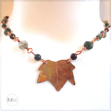 Load image into Gallery viewer, Rough Magic Creations by Mollie Meserve handmade gemstone chain necklace with hand forged copper maple leaf centerpiece