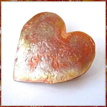 Load image into Gallery viewer, Colorful Copper Heart Brooch, hammer textured metal pin in rustic, primitive style, unique metalwork jewelry for women, romantic Valentine's Day, handmade artisan pin by Mollie Meserve Designe for Rough Magic Creations.