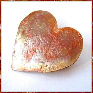Colorful Copper Heart Brooch, hammer textured metal pin in rustic, primitive style, unique metalwork jewelry for women, romantic Valentine's Day, handmade artisan pin by Mollie Meserve Designe for Rough Magic Creations.