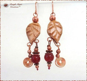 Rustic Wooden Leaves, Boho Earrings with Red Gemstone & Copper Dangles
