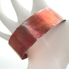 Load image into Gallery viewer, Simple Copper Cuff Hand Forged Textured Bracelet