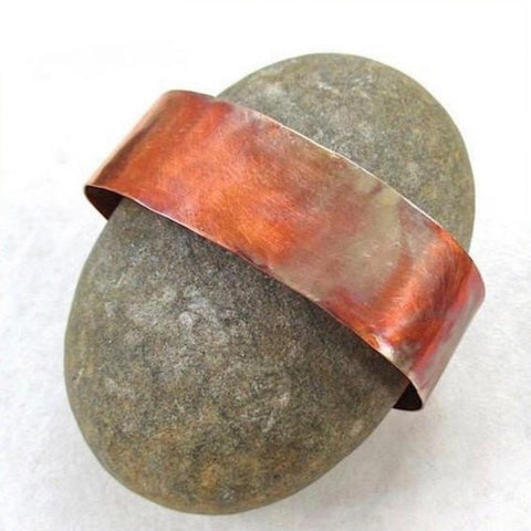 Simple Copper Cuff Hand Forged Textured Bracelet