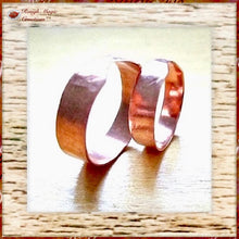 Load image into Gallery viewer, Simple Copper Ring Adjustable Rustic Primitive Textured handmade jewelry by Rough Magic Creations