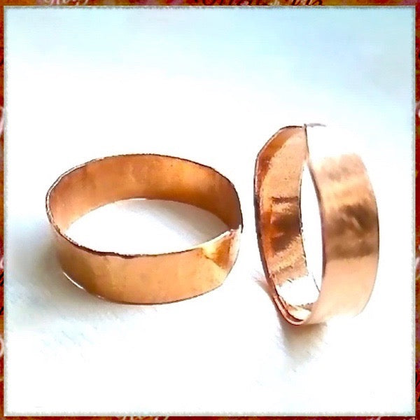 Simple Copper Ring Adjustable Rustic Primitive Textured handmade jewelry by Rough Magic Creations