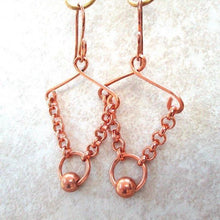 Load image into Gallery viewer, Solid Copper Chain and Bead Earrings