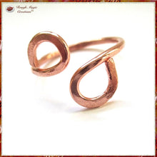 Load image into Gallery viewer, Solid Copper Infinity Ring handmade jewelry by Rough Magic Creations