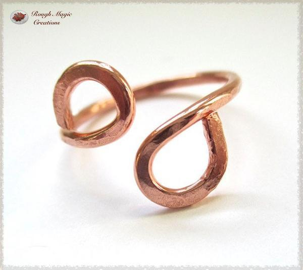 Solid Copper Infinity Ring handmade jewelry by Rough Magic Creations