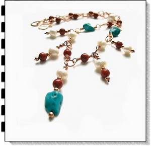 Southwest Colors Necklace with Turquoise Stones, Pearls, Coral, Copper