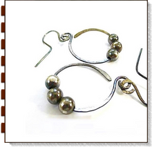 Load image into Gallery viewer, Large sterling silver hammered dangle earrings beaded open hoops antiqued silver oxidized patina /