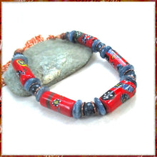 Load image into Gallery viewer, Thousand Flowers Red and Blue Necklace with Vintage Millefiori and Gemstones