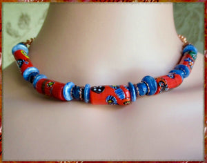 Thousand Flowers Red and Blue Necklace with Vintage Millefiori and Gemstones