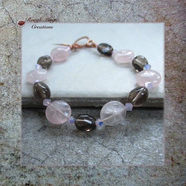 Pink Contrast Gemstone Bracelet, Gray and Rose Quartz, Crystals, Copper Toggle Clasp