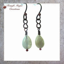 Load image into Gallery viewer, Handmade earrings aquamarine March birthstone gemstones copper jewelry