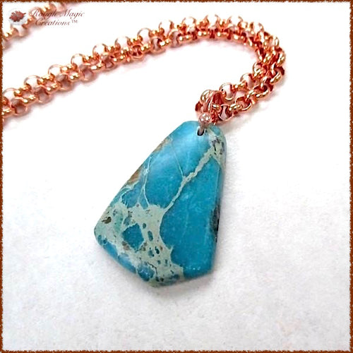 Turquoise Gemstone Pendant, December Birthstone, Copper Chain Necklace