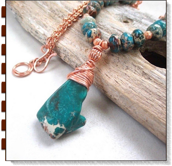Turquoise Jasper Wire Wrapped Pendant, Gemstone Necklace, Copper Chain