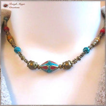 Load image into Gallery viewer, Turquoise Red Gold Necklace, Tibetan Tribal Centerpiece, Antiqued Brass