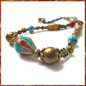 Turquoise Red Gold Necklace, Tibetan Tribal Centerpiece, Antiqued Brass