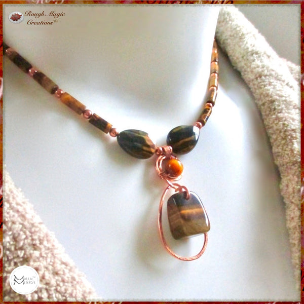 Unique Tiger Eye and Copper Pendant Necklace