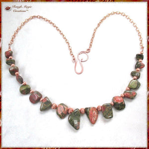 Unique Unakite Necklace Green & Dusky Rose Gemstones, Copper Beads, Chain