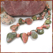 Load image into Gallery viewer, Unique Unakite Necklace Green & Dusky Rose Gemstones, Copper Beads, Chain