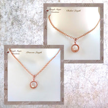 Load image into Gallery viewer, Copper and genuine pearl drop pendant on chain necklace, shown as choker and princess lengths.
