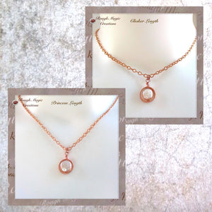 Copper and genuine pearl drop pendant on chain necklace, shown as choker and princess lengths.