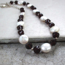 Load image into Gallery viewer, Elegant Necklace with White Baroque Pearls, Ruby Red Crystals, Sterling Silver