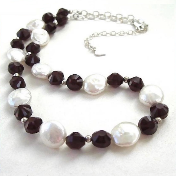 Elegant Necklace with White Baroque Pearls, Ruby Red Crystals, Sterling Silver