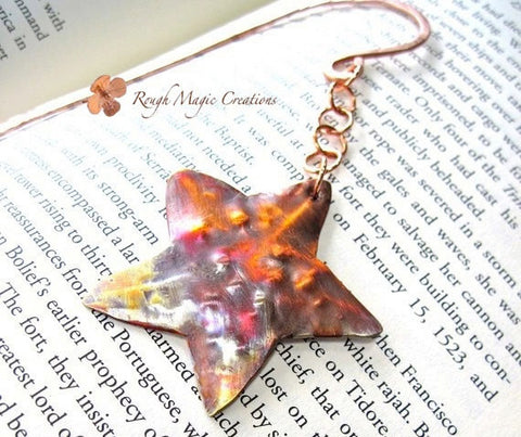 Starfish Beach Bookmark, Copper Metalwork, Rustic Hammered Metal