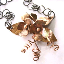 Load image into Gallery viewer, Copper Flowers Rustic Pendant Floral Necklace, Antiqued Patina, Metal Jewelry