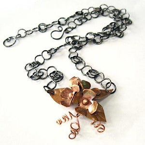 Copper Flowers Rustic Pendant Floral Necklace, Antiqued Patina, Metal Jewelry