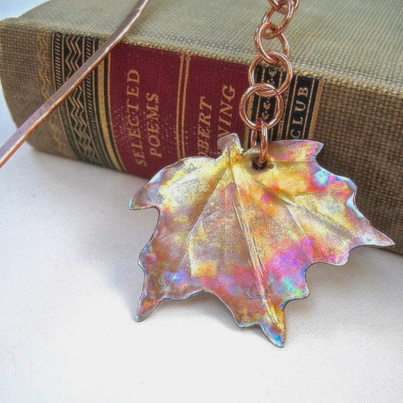 Hammered Copper Maple Leaf Bookmark, Antiqued Metal, Eco Friendly Bookworm