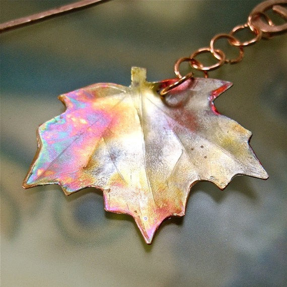 Maple Leaf Copper Bookmark, Rustic Antiqued Metal Dangle, Shepherds Hook