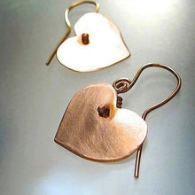 Load image into Gallery viewer, Copper Heart Dangle Earrings Rustic Metal Romantic Eco Friendly Jewelry