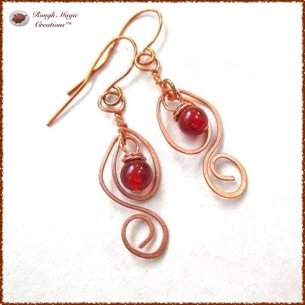 Long Dangle Earrings with Red Carnelian Gemstones and Copper Handmade Jewelry by Rough Magic Creations of Maine