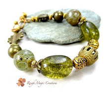 Load image into Gallery viewer, Green Gemstone Tourmaline Stones, Carved Asian Jade, Rustic Brass, Toggle Clasp